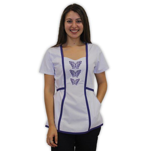 Delantal bordado Violeta centro mariposas - blanco