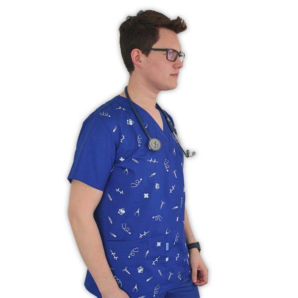 Delantal clinico estampado blanco- azul
