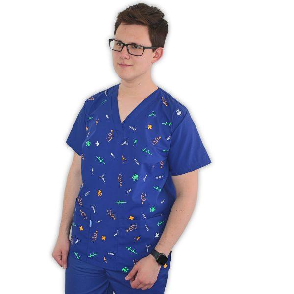 Delantal clinico estampado color-azul rey