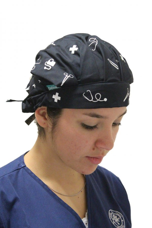 Gorro azul marino clínico estampado blanco-mujer