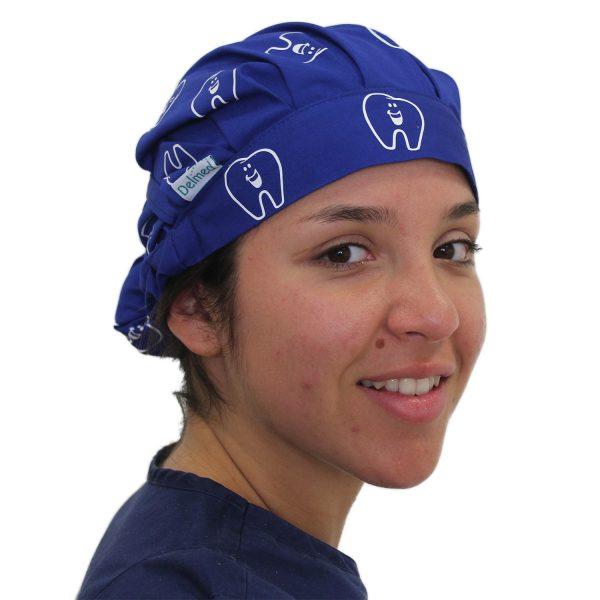 Gorro Azul Rey Dientes Silueta Blanco - Mujer