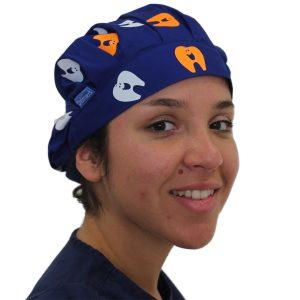 Gorro Azul Rey Dientes Solidos Blanco - Naranjo - Mujer