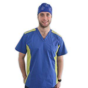 Polera clínica hombre azul rey-verde