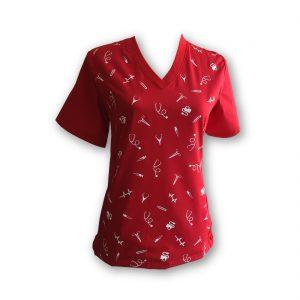 delantal-estampado-clínico-mujer-rojo | delmed.cl